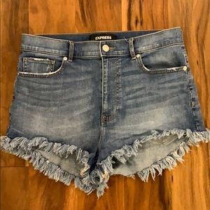 Express - High Waisted, Frayed Hem Denim Shorts